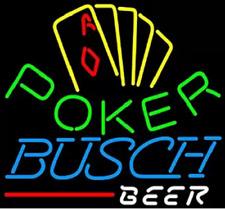 "New Busch Beer Pokers Casino Game Logo Bar Light Lamp Neon Sign 24""x20"""