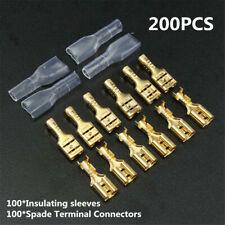 200Pcs Female Spade Insulated Wire Connectors Crimp Electrical Terminals Set