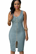 Abito a cono aperto aderente jeans Zip Scollo Spacco Midi Denim Bodycon Dress M