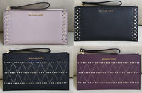 NWT Michael Kors Saffiano Leather Clutch Wristlet Various Color