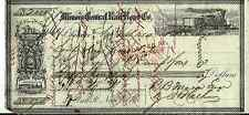 ILLINOIS CENTRAL RAILROAD  BEARER CHECK 1854  * VERY RARE*