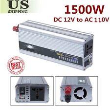 DC 12V to AC 110V Portable Car Power Inverter Charger Converter 1500W WATT USA V