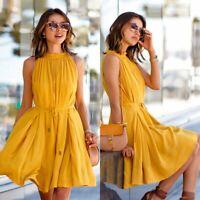 Women Summer Casual BOHO Sleeveless Evening Party Beach Dress Short Mini Dress