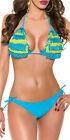 Bikini costume bagno triangolo frange due pezzi moda mare donna lacci nuovo