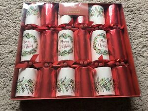 BNIB New 6 Luxury Large Christmas Crackers - Red & Green - 14""