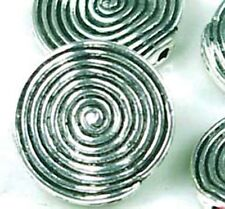 4 Large Silver Pewter spire Disc Beads ~ Lead-Free ~
