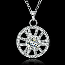 Pendant Unisex Pendant Necklace Nb747 Wholesale 925 Silver Zircon Mesh Round