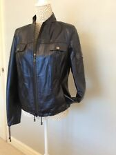 Designer Jacket, Constructed Soft Leather, Navy Blue, NWT, Size 12