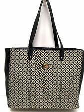 Tommy Hilfiger Handbag*Black Multi Large Tote Travel Shoulder Bag New