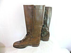 Joan & David Women's Leather Buckle Detail Knee High Boot Heels Brown Size 9 1/2