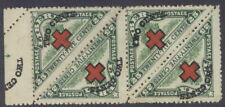 "Liberia 1918 Red Cross on 25c triangle, STRIP(4), ""TWO CE.."" in sheet margin #B9"