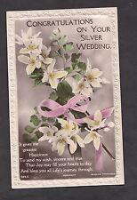 c1930s Silver Wedding Anniversary Card, Mr & Mrs Acott, Sittingbourne