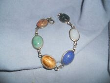 Elegant Classic Scarab Bracelet With Large Scarabs 7 3/4 Inches Long