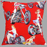 """Alexander Henry Pinup Biker Chicks Red 100% Cotton 16""""x16"""" 40cm Cushion Cover"""
