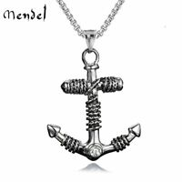 MENDEL Mens Stainless Steel Nautical Beach Surfing Anchor Pendant Necklace Men