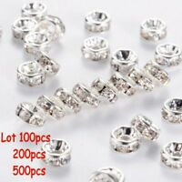 500PCS Rhinestone Rondelle Spacer Beads Silver 8mm Crystal Diamante-uk