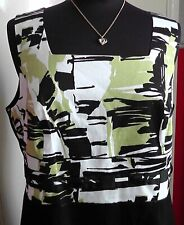 VERY SMART SHIFT DRESS SMALL SIZE 18 BLACK/GREEN/WHITE FITS 40/42 INCH BUST VGC