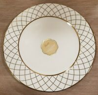 NEW (4) Ciroa Luxe Porcelain with Metallic Accent Gold Criss Cross Dinner Plates