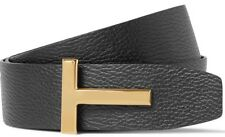 "Tom Ford Signature Gold T Buckle Reversible Black Brown Icon Belt 46"" EU 120cm"