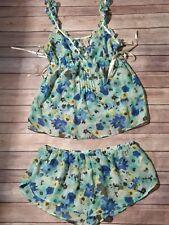 NWT Ambrielle Wo's L Aqua Blue Floral Short Sexy Tank Babydoll Pajama Neglige