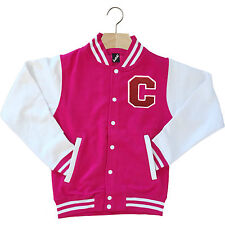 VARSITY BASEBALL JACKET UNISEX PERSONALISED WITH GENUINE US COLLEGE LETTER C