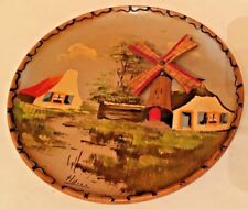 vintage 3d wooden painted 8.5'' windmill plate, wall decor