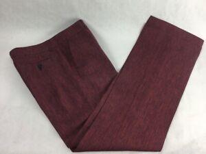 ETRO Women's Dress Pants Red Stripe Flat Front Zipper Fly 100% Linen Trousers 42