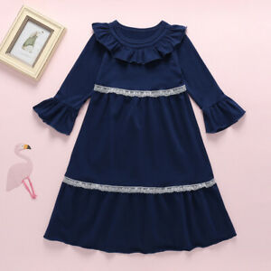 Sweet Vintage Flounced Lace Long-sleeve NAVY BLUE DRESS for Toddler Girls - MELB