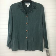 Caribe Woman's Button Up Long Sleeves Size S