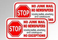 no junk mail, no newspapers  2 x for letterbox mail door vinyl stickers