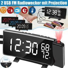 Digital Radiowecker mit Projektion Uhrenradio FM UKW LED Alarm Tischuhr 2x USB