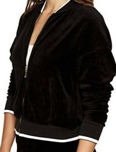 NWT Juicy Couture Velour Ruched Sleeve Jacket Pitch Outerwear BLK/WHT Sz S