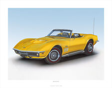 1969 CORVETTE CLASSIC CAR POSTER AUTOMOTIVE FINE ART PRINT O GICLEE OF PAINTING