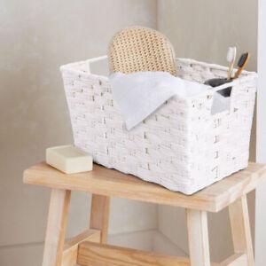Wickerfield Modern Storage Box With Handles For Bathroom, Living Room, Bedroom