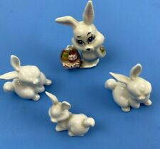 Vintage Miniature Porcelain Rabbit Figurines - Lot of 4 Miniature Bunny Rabbits
