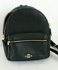 NWT Coach F38263 Mini Charlie Backpack In Pebble Leather Black