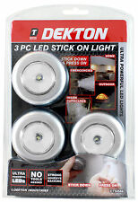 3pc Stick n Click led lights bright click push on off light for kitchen cupboard