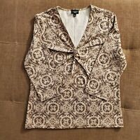 Women's TALBOTS Petites Geometric Tan/Brown Blouse Tunic Top 3/4 Sleeve Size L
