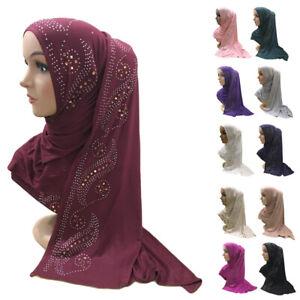 Rhinestone Women Muslim Long Hijab Scarf Islam Headscarf Prayer Wrap Shawl Stole