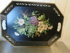"""18"""" Vintage Octagonal Tole Tray Black Flower Pierced Handle hand Painted Grapes"""
