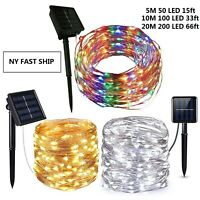 50-200 Led Solar Power Fairy Light String Lamp Party Xmas Deco Garden Outdoor US