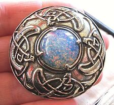 VINTAGE DESIGN SIGNED MIRACLE CELTIC ZOOMORPHIC KILT OPAL GLASS BROOCH SHAWL PIN