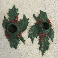 Antique 1921 Cast Iron Candle Holders Christmas L.V.L. Holly Leaf Dated 5/17/21