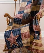 PATRIOTIC PATCH 50x60 QUILT THROW : VHC COTTON TEA DYED RED PRIMITIVE BLANKET