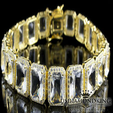 """Mens Ladies Yellow Gold Over Sterling Silver White Topaz Simulated Bracelet 7.5"""""""