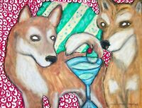 Shiba Inu Drinking a Martini Original Pastel Painting 9x12 Dog Folk Art by KSams