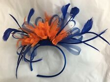 Electric Royal Blue and Orange Fascinator Headband Wedding Race