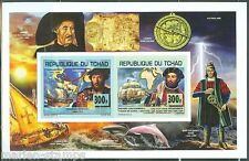 CHAD 2014  NAVIGATORS COLLECTIVE SHEET OF TWO  STAMPS IMPERFORATED MINT NH
