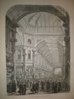 Interior new Leadenhall Market London 1881 old print