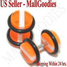 1142 Fake Cheaters Faux Illusion Ear Plugs 16G Orange White Stripes 0G